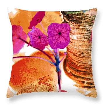 Pink Leaves In The Garden Throw Pillow by Lisa Holland-Gillem
