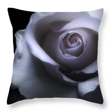 Black And White Rose Flower Macro Photography Throw Pillow