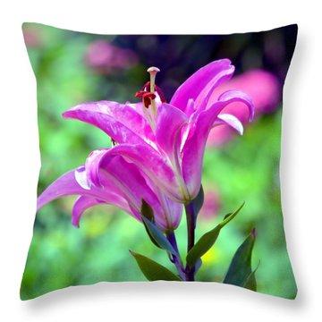 Pink Lilies Throw Pillow by Deena Stoddard