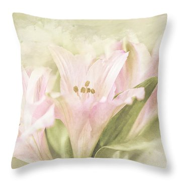 Throw Pillow featuring the painting Pink Lilies by Linda Blair