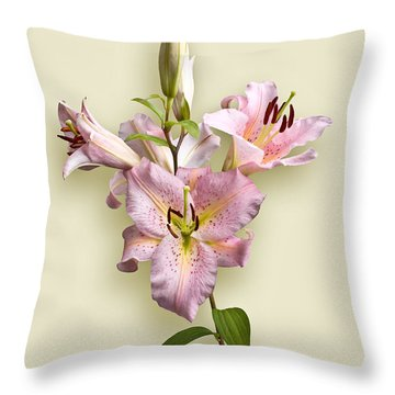 Pink Lilies On Cream Throw Pillow