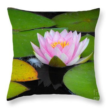Pink Lilly Flower Throw Pillow