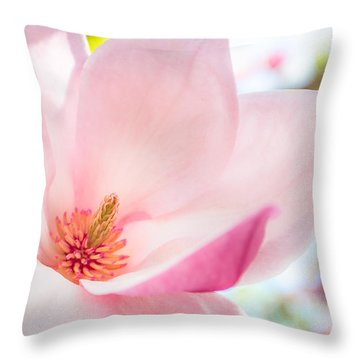Pink Magnolia Throw Pillow by Denise Bird