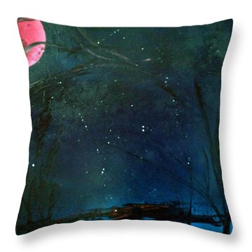Pink Moon Throw Pillow