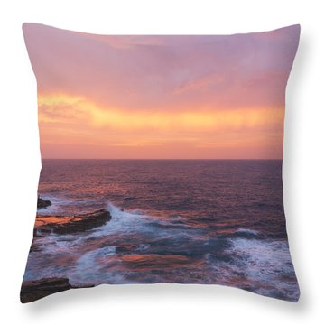 Pink Oahu Sunrise - Hawaii Throw Pillow by Brian Harig