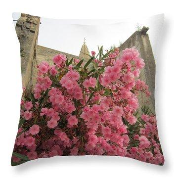 Pink Oleander Throw Pillow by Pema Hou
