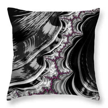 Pink On Black And White Fractal Abstract Throw Pillow