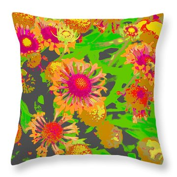 Throw Pillow featuring the photograph Pink Orange Flowers by Suzanne Powers