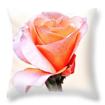 Pink Orange Rose Throw Pillow by William Havle