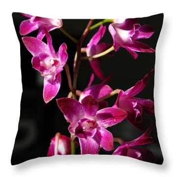 Pink Orchid Throw Pillow by Eva Csilla Horvath