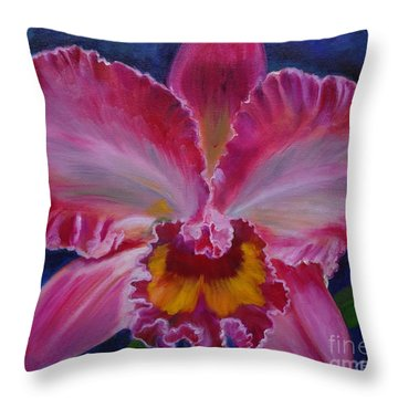 Throw Pillow featuring the painting Pink Orchid by Jenny Lee
