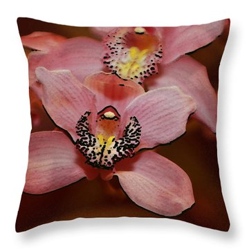 Pink Orchid Throw Pillow by Mustafa Abdullah