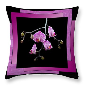 Framed Orchid Spray Throw Pillow by Patti Deters