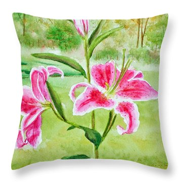 Pink Oriental Lillies Throw Pillow by Kathryn Duncan