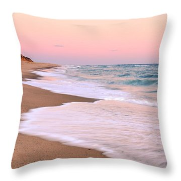 Pink Pastel Beach And Sky Throw Pillow