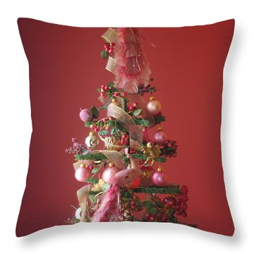 Throw Pillow featuring the photograph Pink Peacock Christmas Tree by Suzanne Powers