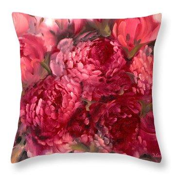 Pink Peonies Throw Pillow