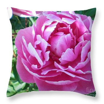 Pink Peony Throw Pillow by Barbara Griffin