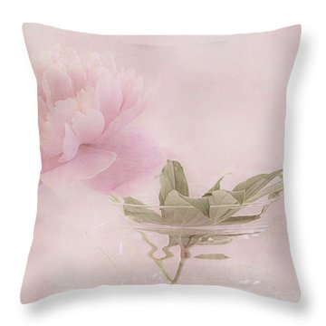 Pink Peony Blossom In Clear Glass Tea Pot Throw Pillow by Sandra Foster