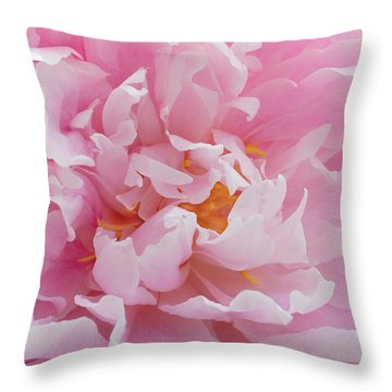 Pink Peony Flower Waving Petals  Throw Pillow