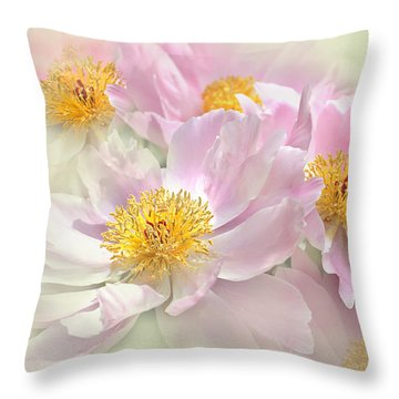 Pink Peony Flowers Parade Throw Pillow by Jennie Marie Schell