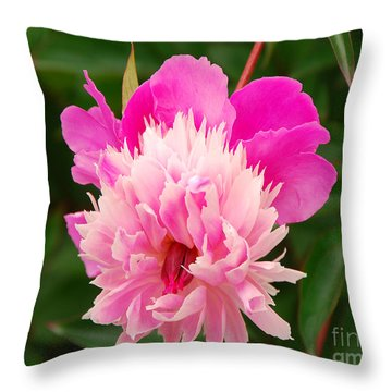 Pink Peony Throw Pillow by Mary Carol Story