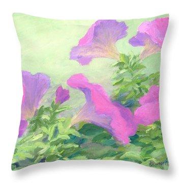 Pink Petunias Beautiful Flowers Art Colorful Original Garden Floral Flower Artist K. Joann Russell  Throw Pillow