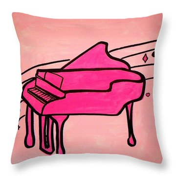 Pink Piano Throw Pillow