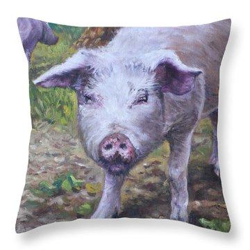 Pink Pig Portrait Throw Pillow