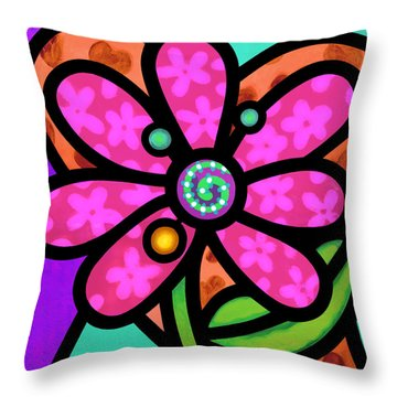 Pink Pinwheel Daisy Throw Pillow