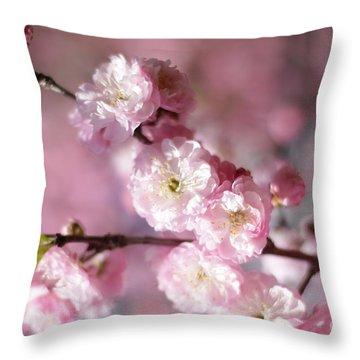 Pink Plum Branch 1 Throw Pillow