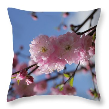 Pink Plum On Sky 2 Throw Pillow