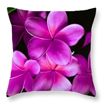 Pink Plumeria Throw Pillow by Bruce Nutting