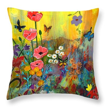 Throw Pillow featuring the painting Pink Poppies In Paradise by Robin Maria Pedrero