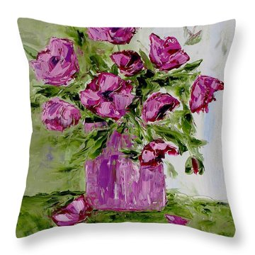 Pink Poppies In Pink Vase Throw Pillow