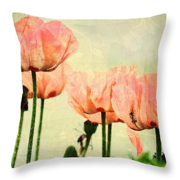 Throw Pillow featuring the photograph Pink Poppies In The Garden by Peggy Collins
