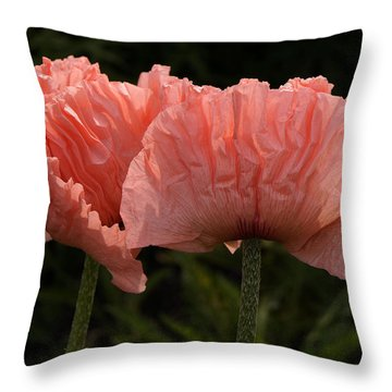 Throw Pillow featuring the photograph Pink Poppies by Inge Riis McDonald