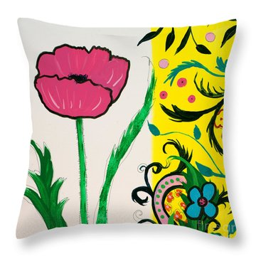 Pink Poppy And Designs Throw Pillow