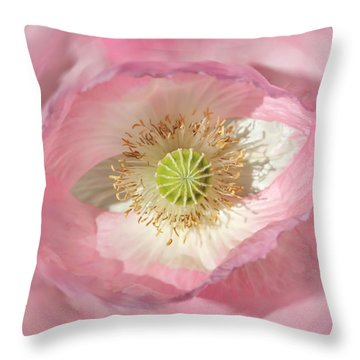Pink Poppy Blossom Macro Throw Pillows