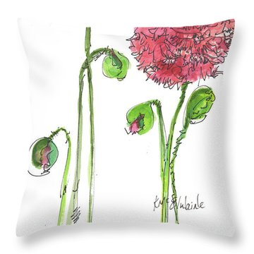Pink Poppy Throw Pillow by Kathleen McElwaine