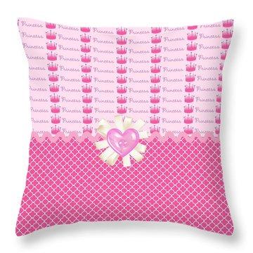 Pink Princess Crowns Throw Pillow by Debra  Miller