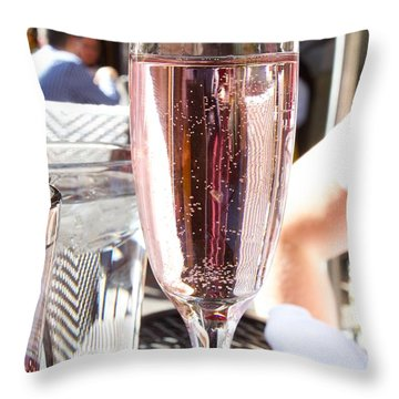 Pink Prosecco Throw Pillow by Allan Morrison
