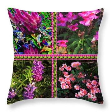 Pink Purple Flowers Captured At The Riverside Ridge At Oakville Ontario Canada Collage Beautiful     Throw Pillow by Navin Joshi