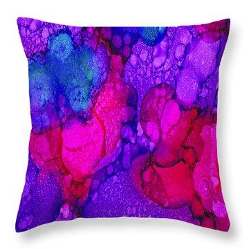 Throw Pillow featuring the painting Pink-purple 3 by Angela Treat Lyon