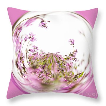Pink Red Campion Throw Pillow by Anne Gilbert