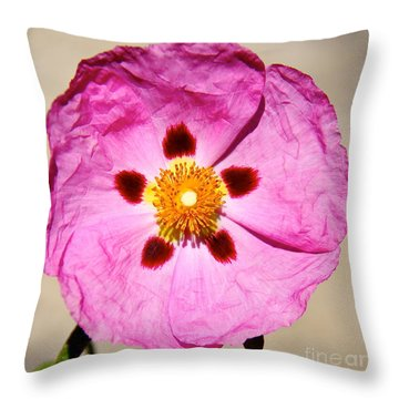 Pink Rock Rose Throw Pillow