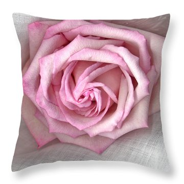 Pink Rose And Linen Throw Pillow by Sandra Foster