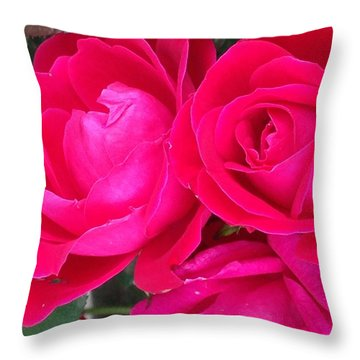 Pink Rose Blossoms Throw Pillow