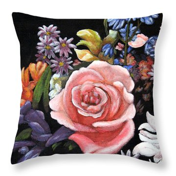 Throw Pillow featuring the painting Pink Rose Floral Painting by Judy Filarecki