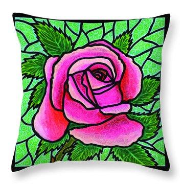 Pink Rose Number 5 Throw Pillow by Jim Harris